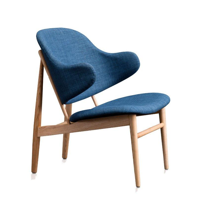Nordic Blue Fabric Wooden Chair For Cafe SA015