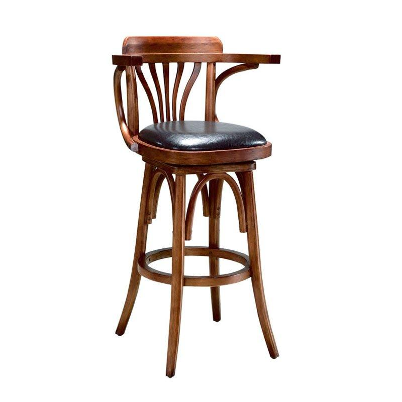 Retro Wooden High Bar Chair With Arms BA010