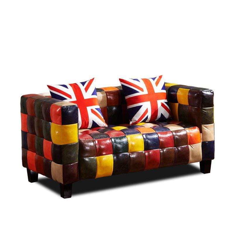 Retro Colourful Leather Plaid Pub Sofa SD001
