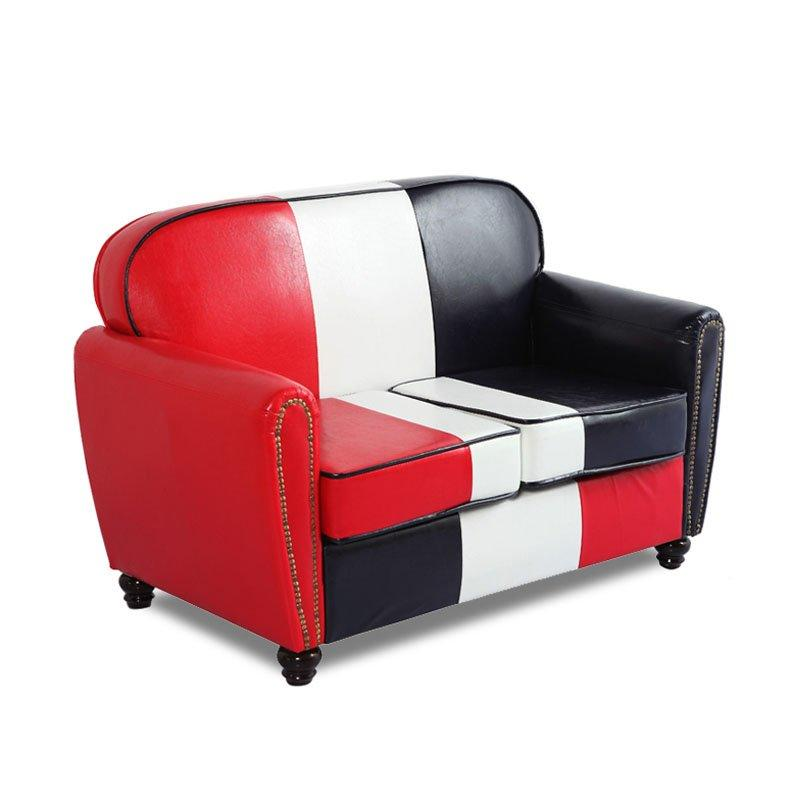 Retro Club Color Matching Leather Sofa SE011