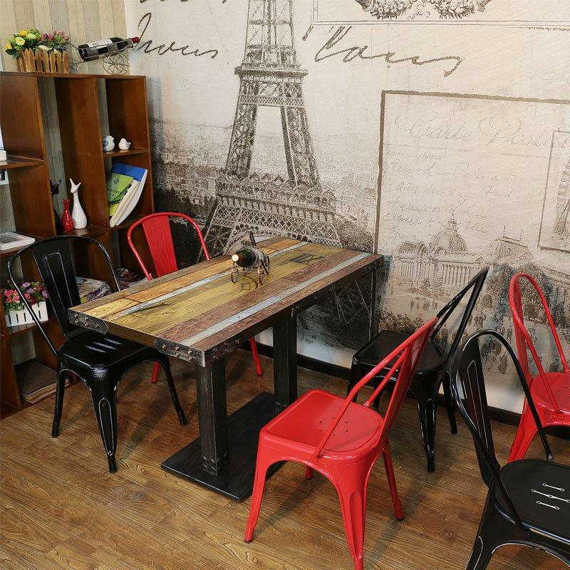 Rustic Restaurant Dining Table And Metal Chairs GROUP60