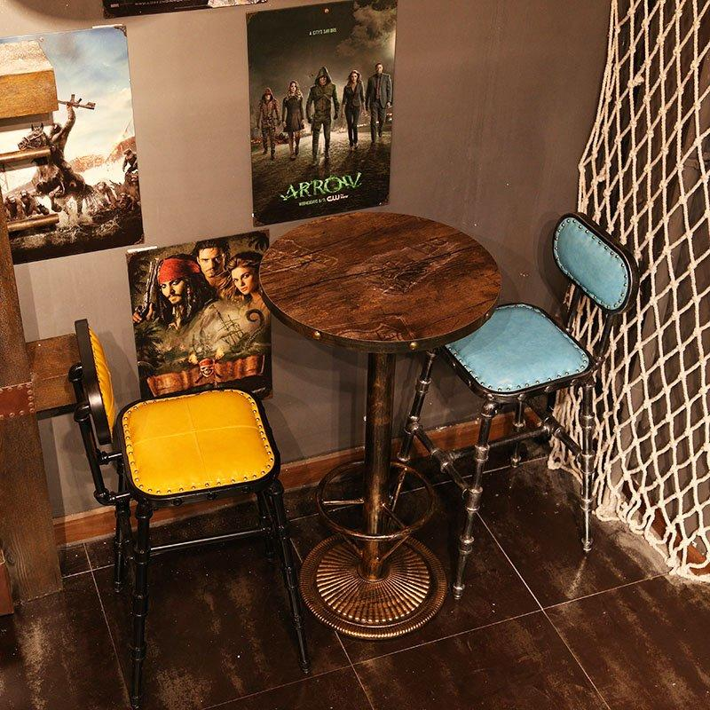 Industrial Dining Table And Metal Bar Chairs GROUP65