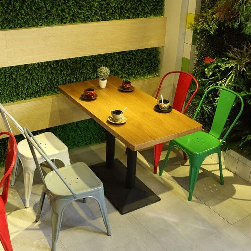 Industrial Style Wood Table And Metal Dining Seat  GROUP83
