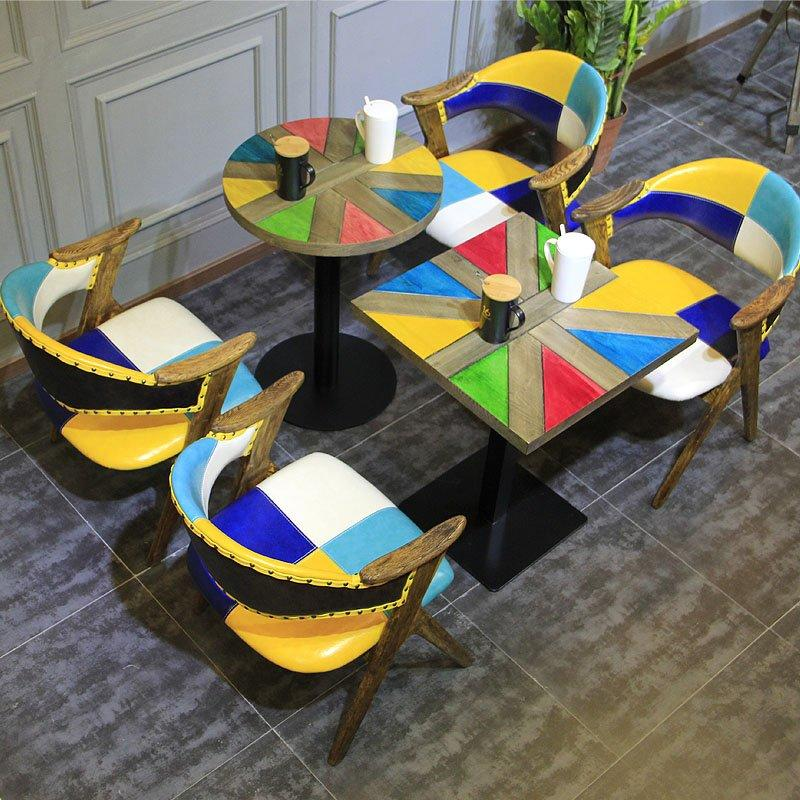 Industrial Loft Style Colourful Wood Table Chairs GROUP104