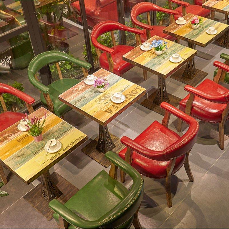 Retro Diner Leather Chair And Antique Table GROUP144