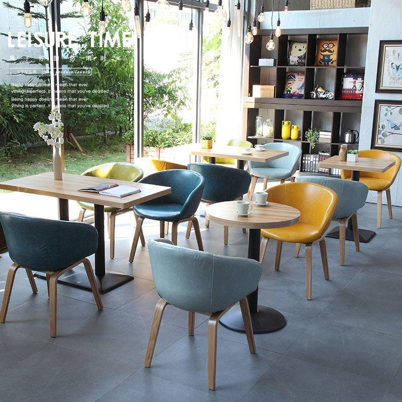 Nordic Restaurant Timber Table With Leather Chairs GROUP180