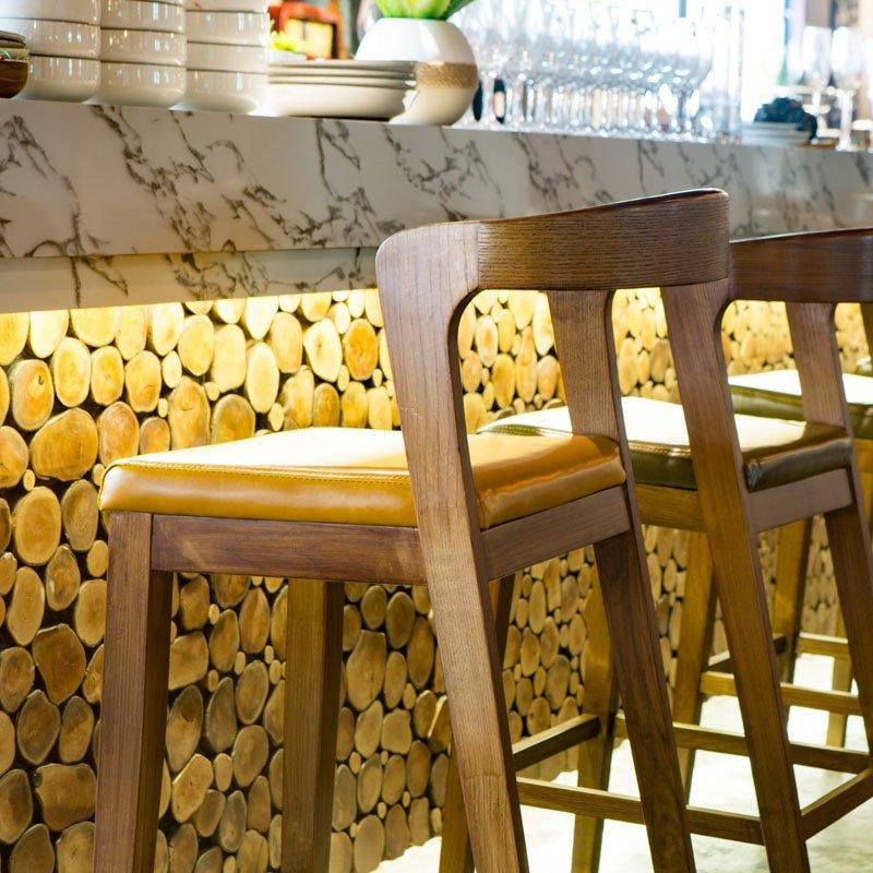 Nordic Pub Solid Wood Bar Stools And Table GROUP185