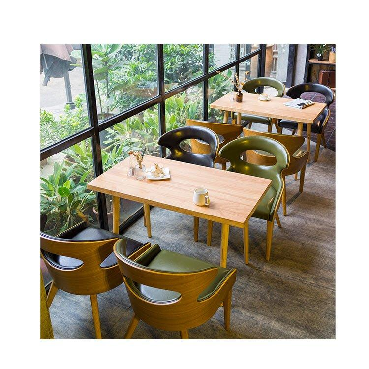 Modern Restaurant Leather Stool And Wooden Table GROUP186