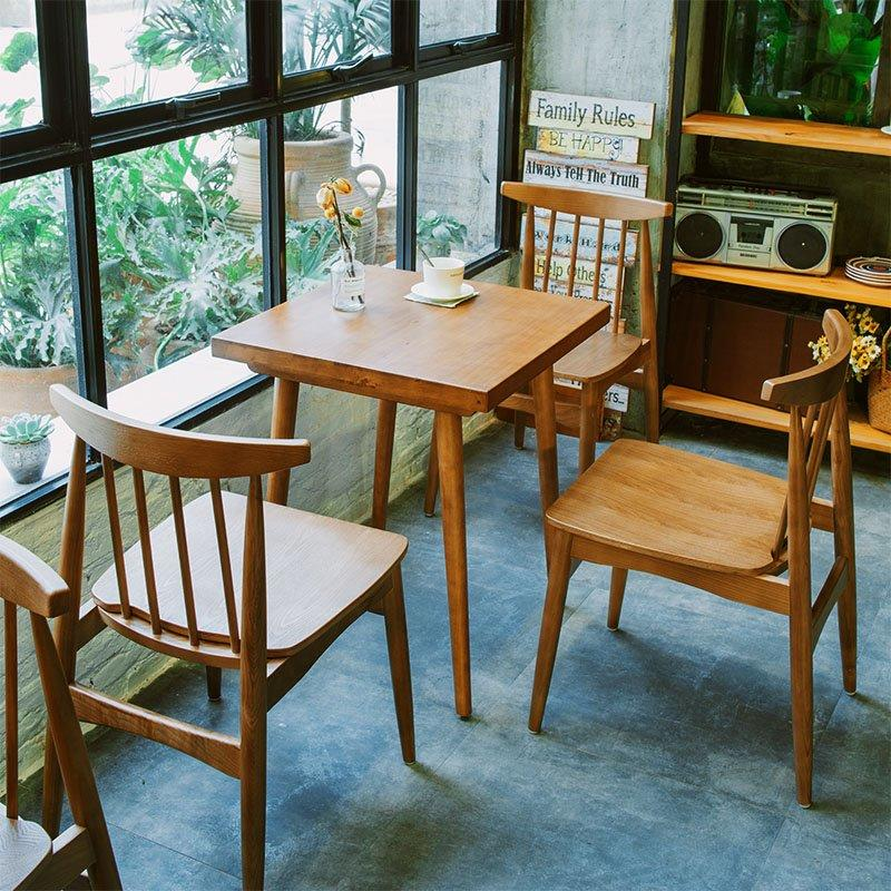 Nordic Solid Wood Dining Chair And Square Table GROUP188