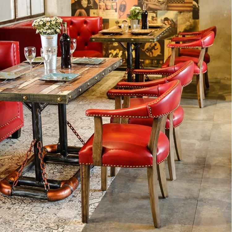 Retro Dining Table And Leather Rivet Chair GROUP197