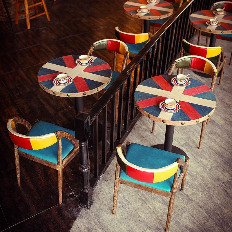 Retro Restaurant Colourful Wooden Table Chair GROUP204