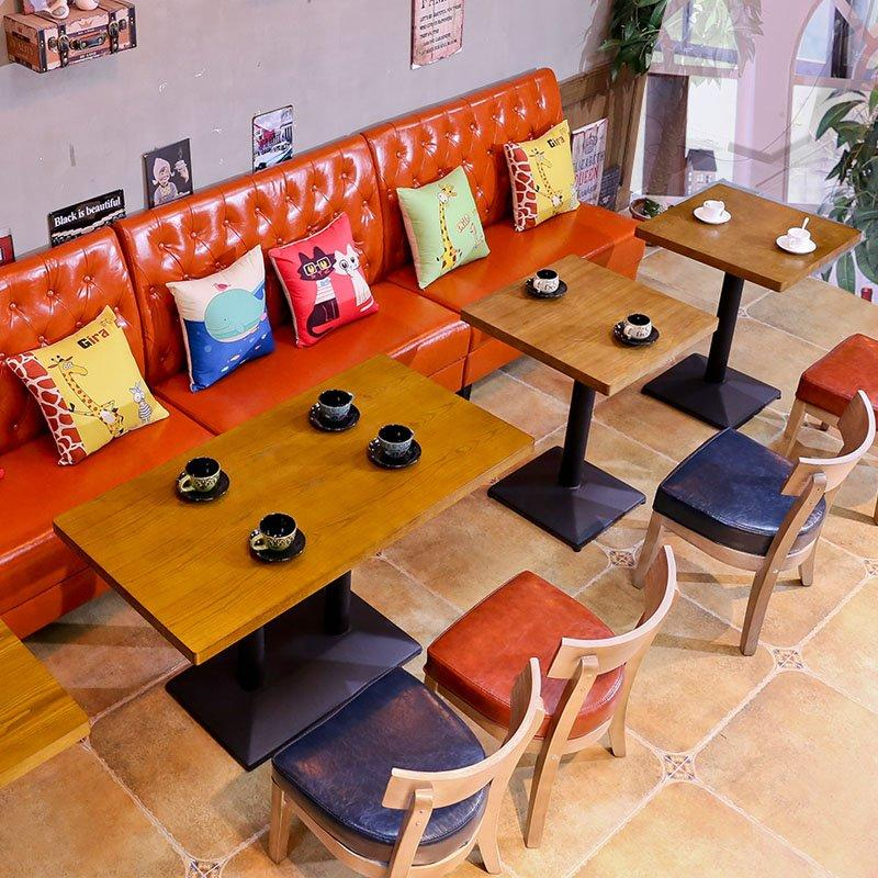 Modern Eatery Wooden Table And Dining Booths SE001-37