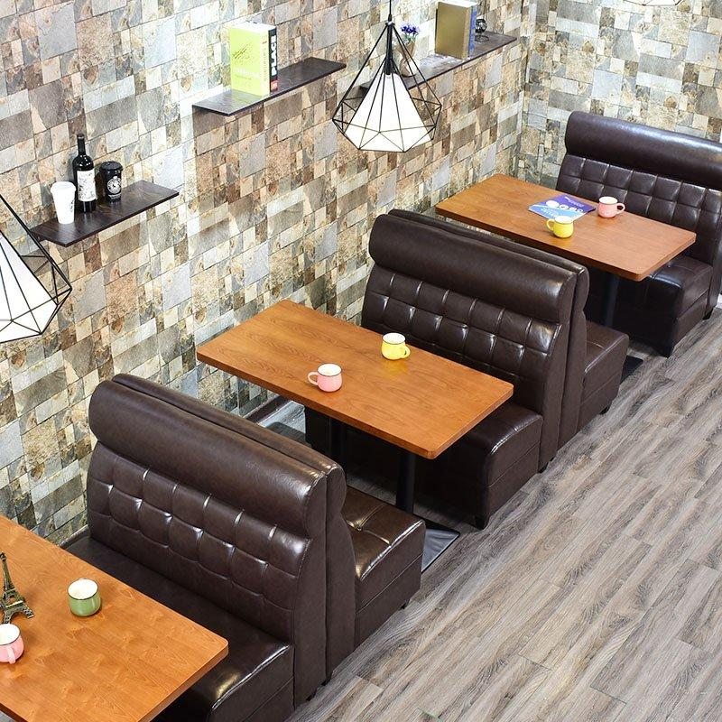 Modern Wood Table And Upholstered Restaurant Booths SE001-57