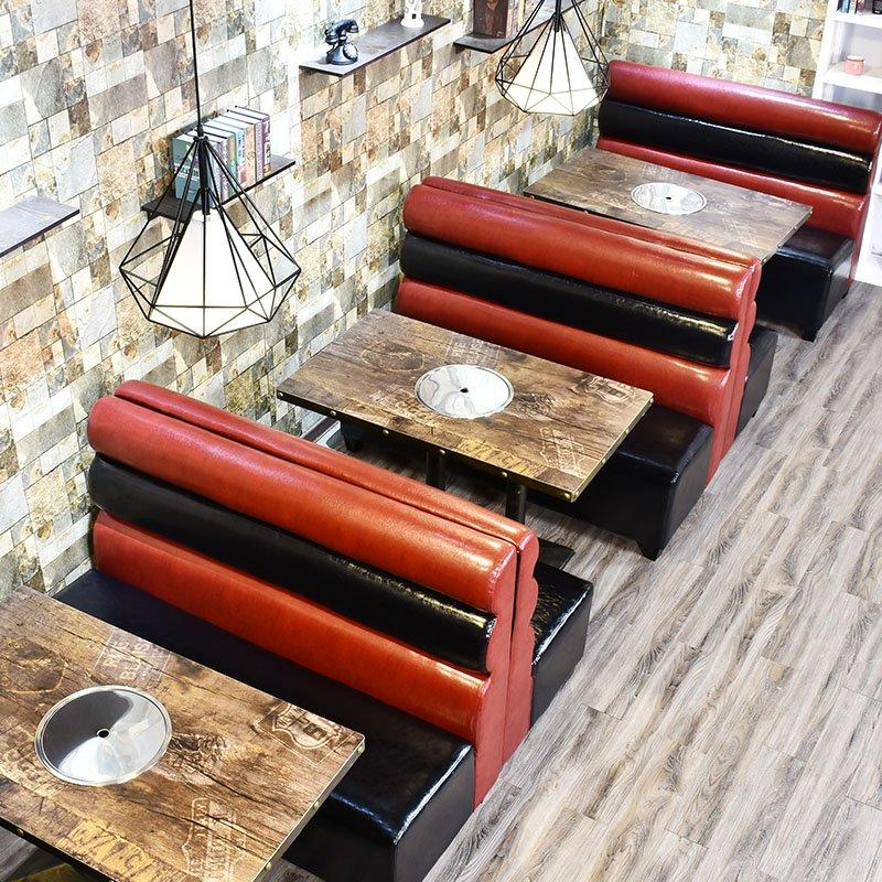 Industrial Wooden Booths Table For Restaurant SE001-63