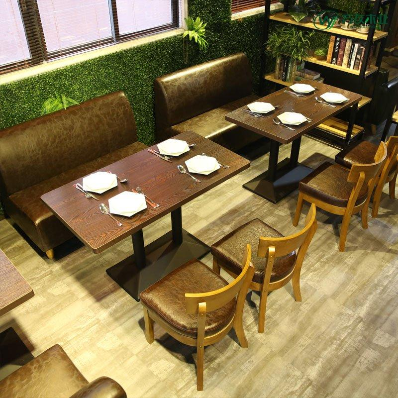 Retro Bar Dining Table And Leather Booth Sofa SE002-8