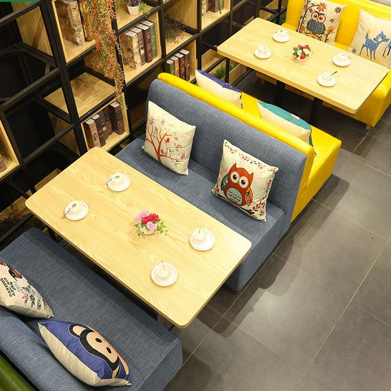 Simple Wood Table And Upholstered Booth Sofa SE002-9