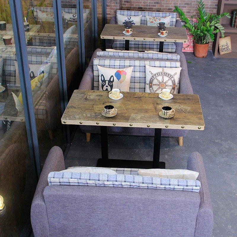 Rustic Restaurant Table And Fabric Dining Sofa SE005-15