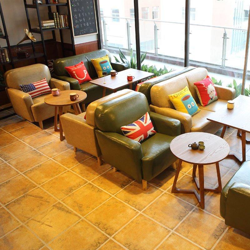 Modern Cafe Wooden Table And Armrest Sofa SE006-10