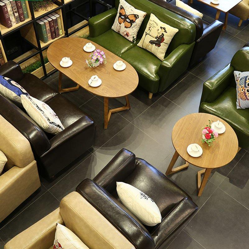Modern Cafe Leather Sofa Dining Table Combined SE006-13
