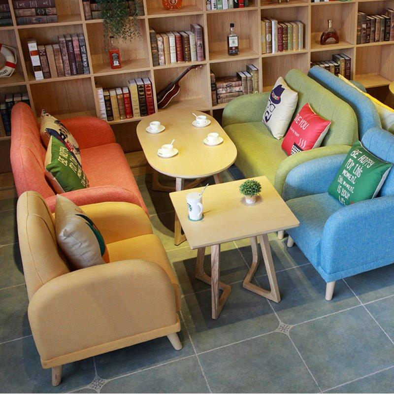 Nordic Solid Wood Table And Colourful Sectional Sofa SE007-7