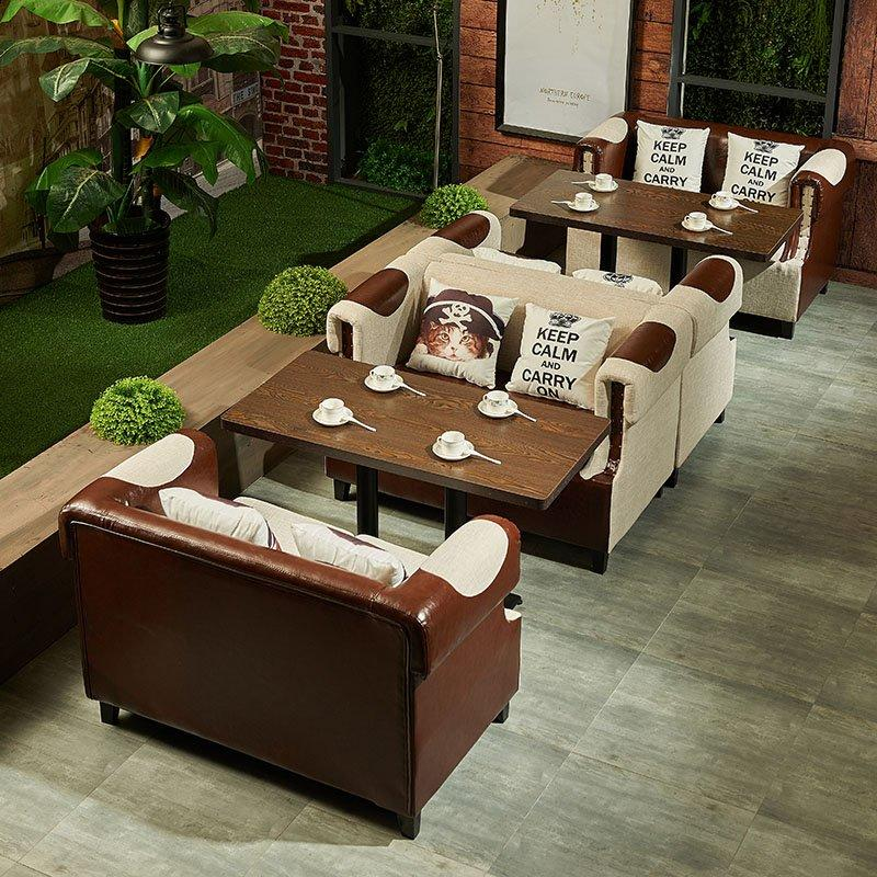Retro Restaurant Long Table And Sofa With Armrest SE015-5