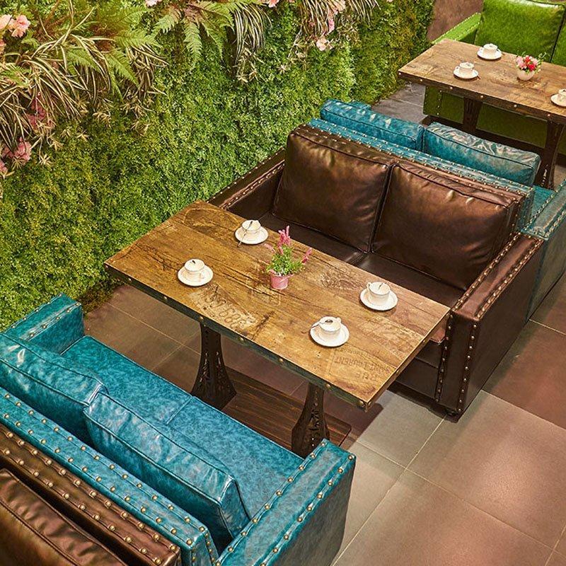 Retro Restaurant Table And Sofa With Cushion SE019-13