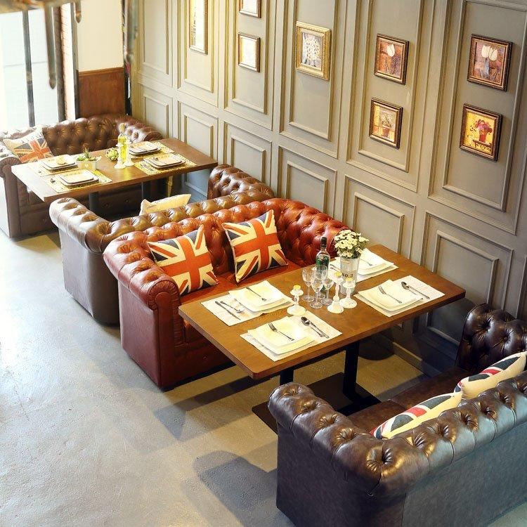 Vintage Leather Sofa And Hardwood Table For Hotel SE021-10