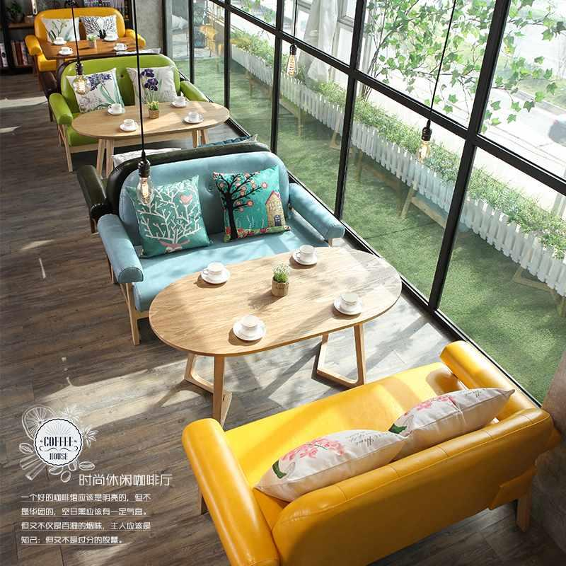 Modern Coffee Shop Dining Wooden Table Sofa Furniture SE028-1
