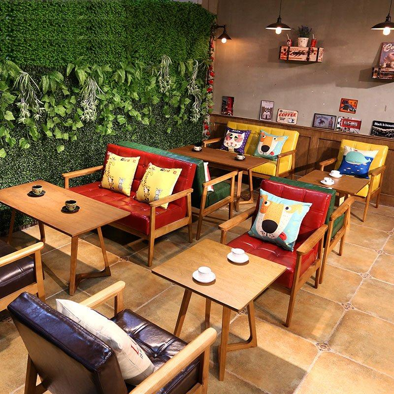 Modern Coffee Shop Table And Hardwood Dining Sofa SJ002-7