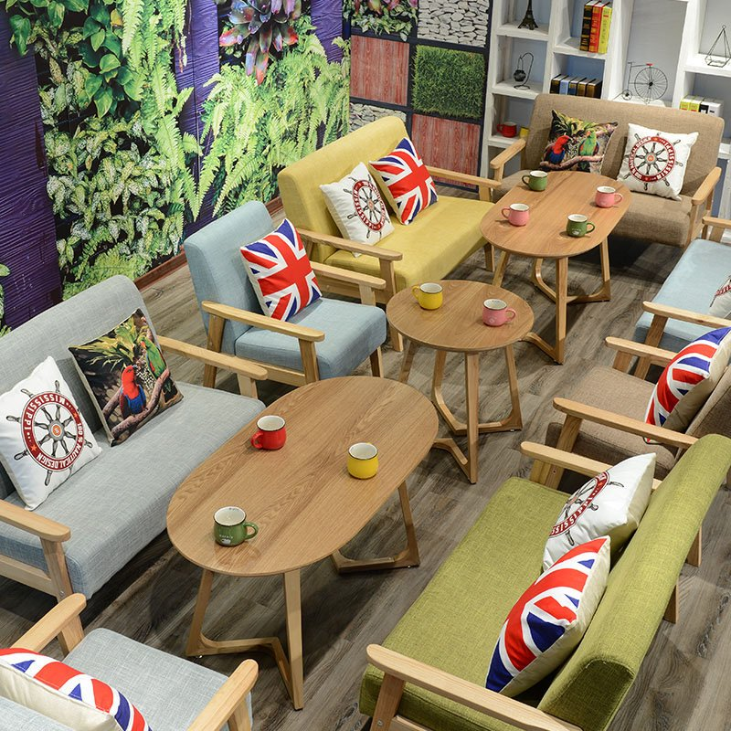 ShengYang restaurant furniture Modern Snack Bar Dining Set With Fabric Sectional Sofas SJ002-19 Table and Sofa Group image14
