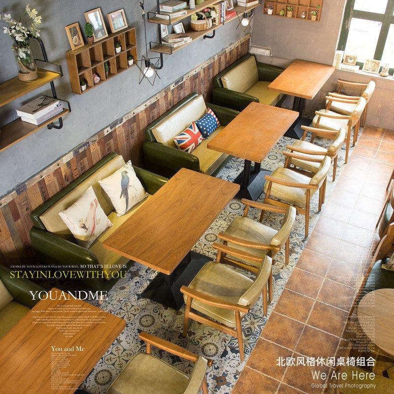 Modern Restaurant Wood Table With Leather Sofa Seating SE005-25