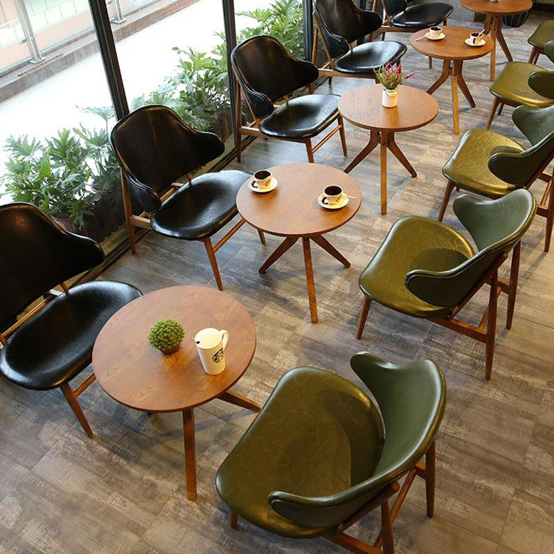 Modern Coffee Shop Small Table And Leather Chair GROUP214