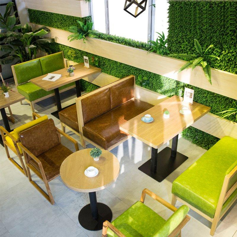 Modern Restaurant Wooden Tables And Leather Seating GROUP219