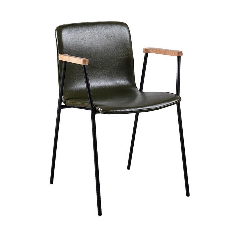 Modern Metal And Leather Dining Chairs With Armrest CE017