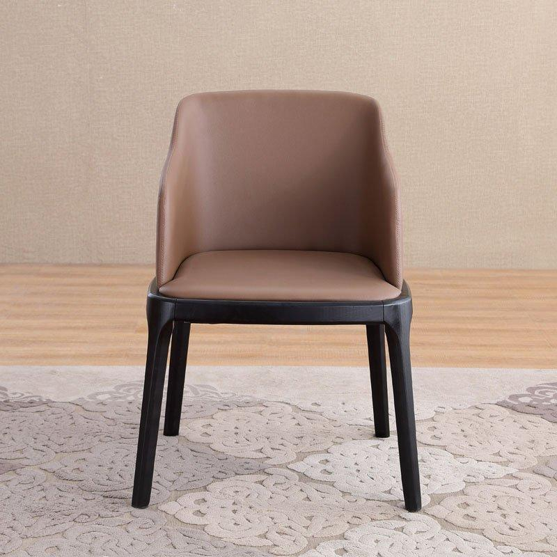 Modern Wood Furniture Leather Grace Chair With Arm Rest CA029